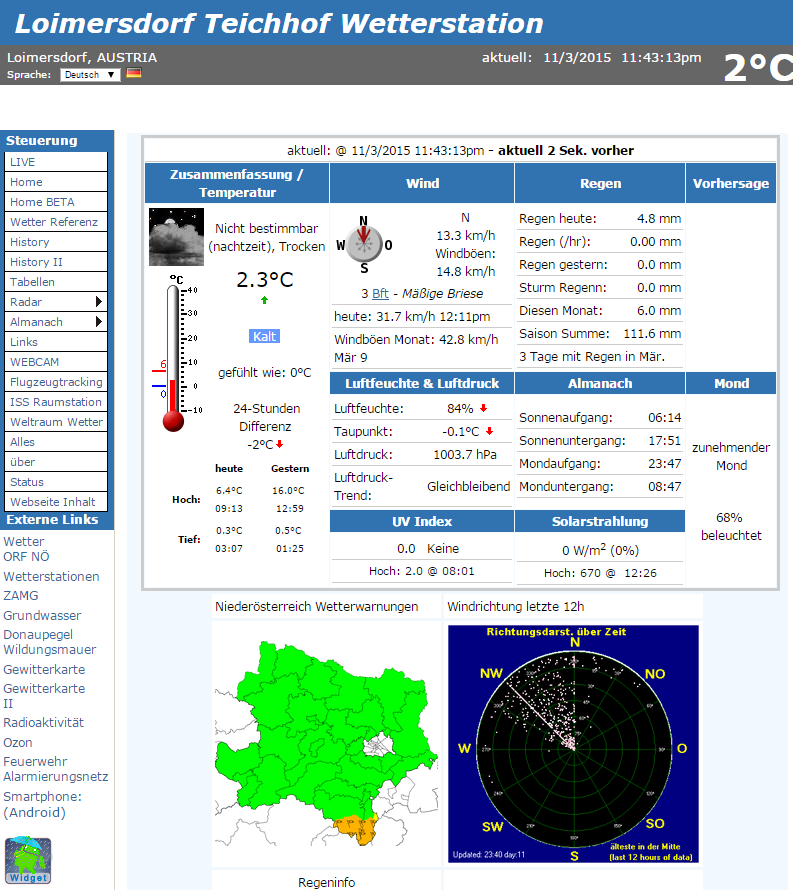 Wetterseiten Screenshot